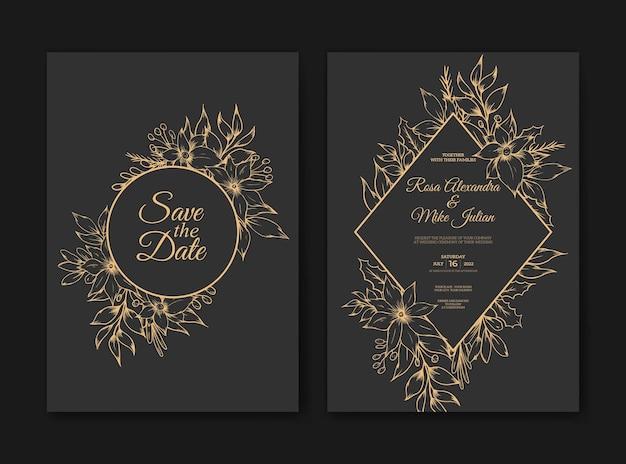 Hochzeitseinladungskarte mit handgezeichnetem skizzenumriss floraler luxus