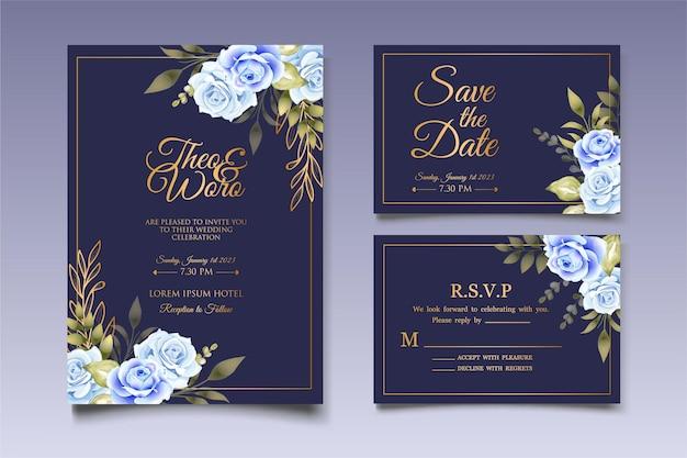 Hochzeitseinladungskarte mit handgezeichneter blumendekoration