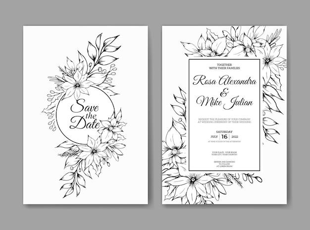 Hochzeitseinladungskarte mit handgezeichneter skizze umriss floral