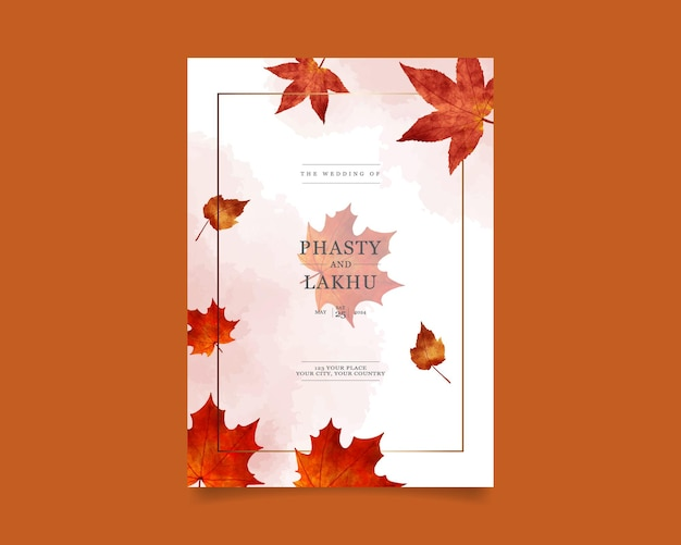 Hochzeitseinladungskarte mit herbstblatt-aquarell