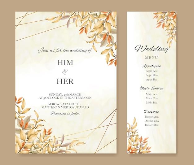 Hochzeitseinladungskarte mit herbstlaub und menüschablone