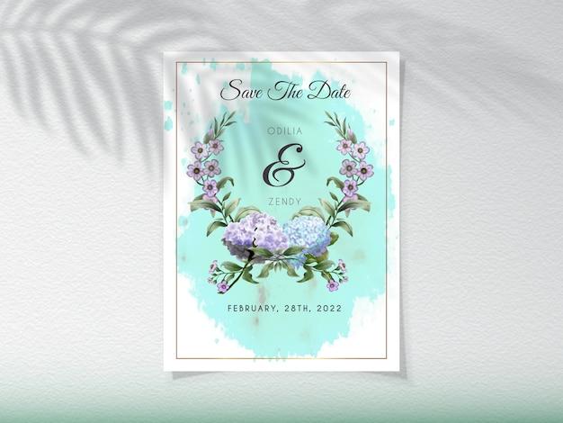 Hochzeitseinladungskarte mit hortensienblumen