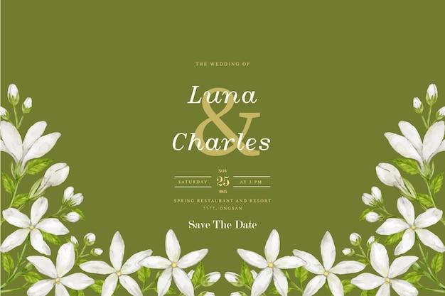 Hochzeitseinladungskarte mit jasminaquarellhintergrund