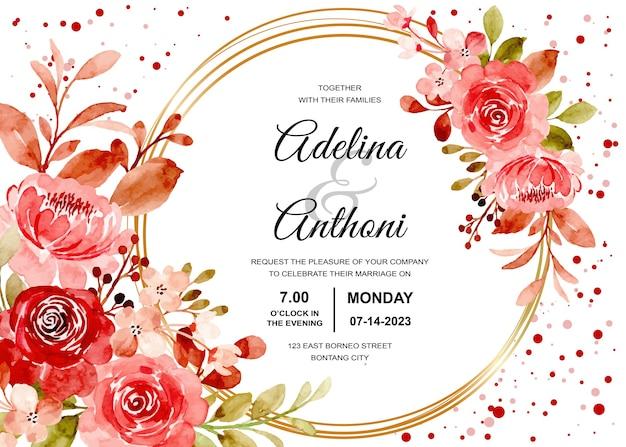 Hochzeitseinladungskarte mit kastanienbraunem rosenblumenaquarell