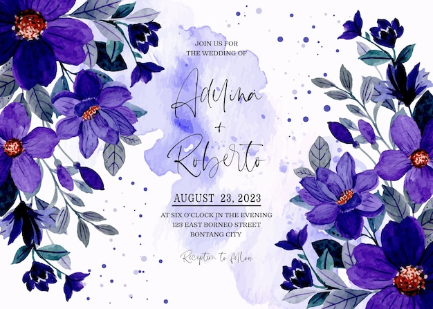 Hochzeitseinladungskarte mit lila blauem blumenaquarell