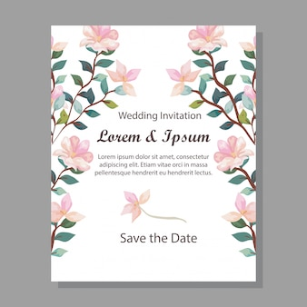 Hochzeitseinladungskarte mit niederlassungen und blumendekoration