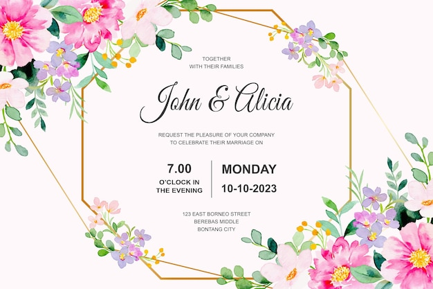 Hochzeitseinladungskarte mit rosa blumenaquarell
