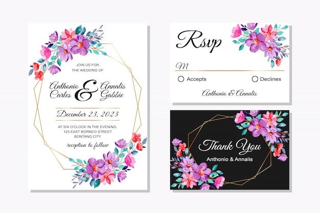 Hochzeitseinladungskarte mit rosa lila blumenaquarell