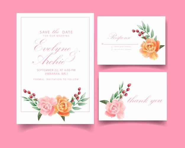 Hochzeitseinladungskarte mit rosafarbener blume