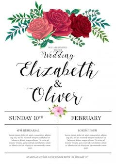 Hochzeitseinladungskarte mit rosen hintergrundvorlage