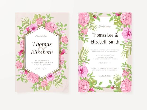 Hochzeitseinladungskarte mit rosen und blättern