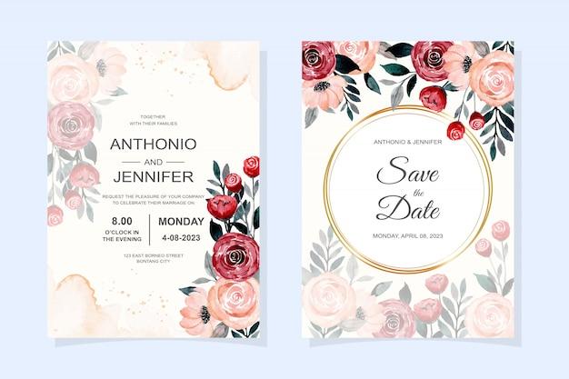 Hochzeitseinladungskarte mit rotem und rosa blumenaquarell