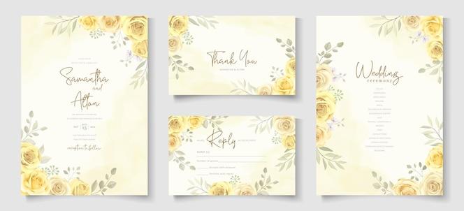 hochzeitseinladungskarte mit schönem gelbem rosenblumendesign