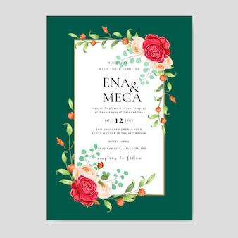Hochzeitseinladungskarte mit schönen blumenblättern