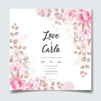 Hochzeitseinladungskarte mit schönen blumenschmuck