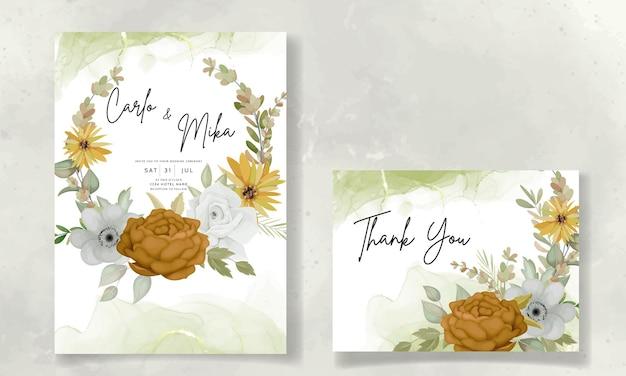 Hochzeitseinladungskarte mit schönen herbstblumen