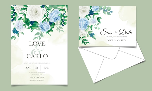 Hochzeitseinladungskarte mit schönen rosen, grünen blättern und blaubeeren