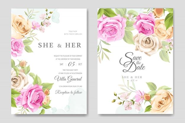 Hochzeitseinladungskarte mit schönen rosen vorlage