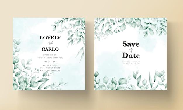 Hochzeitseinladungskarte mit schöner blattdekoration