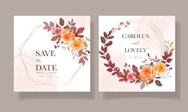 Hochzeitseinladungskarte mit schöner blume und lässt herbst fallen