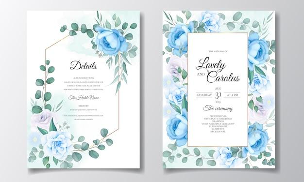 Hochzeitseinladungskarte mit schöner hand zeichnen blumen