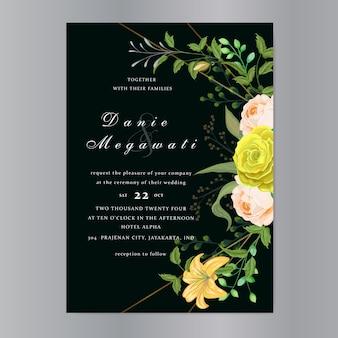 Hochzeitseinladungskarte mit schöner rosenschablone