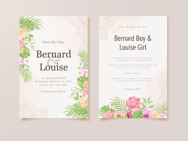 Hochzeitseinladungskarte mit sommerblumen und blättern vorlage