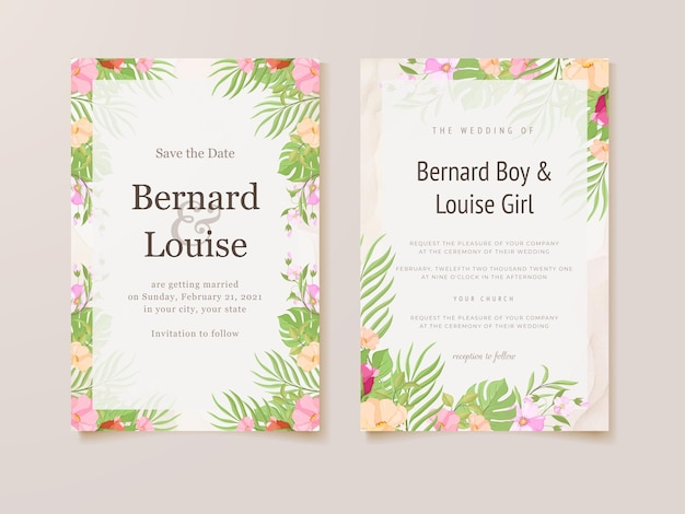 Hochzeitseinladungskarte mit sommerblumenschablone