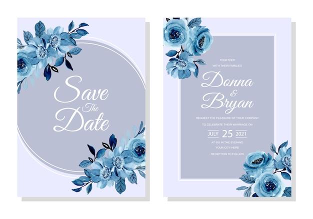 Hochzeitseinladungskarte mit weichem blauem blumenaquarell
