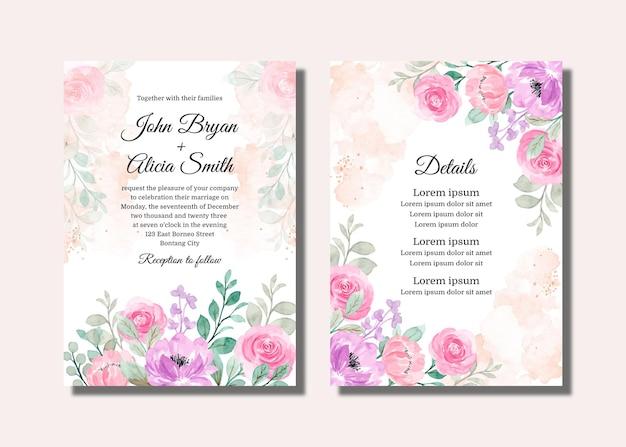 Hochzeitseinladungskarte mit weichem rosa lila aquarellblumen