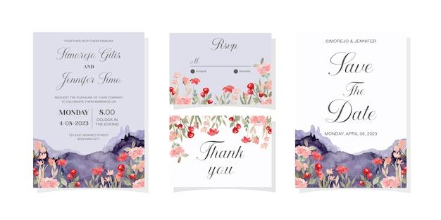 Hochzeitseinladungskarte mit wildem blumenblau-bergaquarell