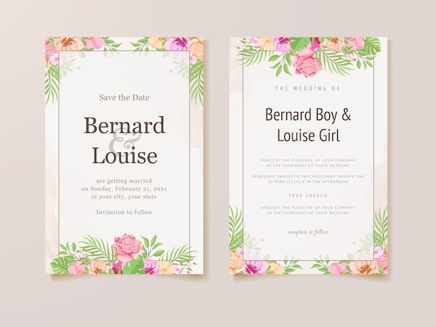 Hochzeitseinladungskarte sommer blumen vorlage