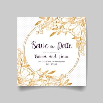 Hochzeitseinladungskarte, speichern sie das datum mit goldenem rahmen, blumen, blättern und zweigen.