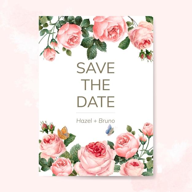 Hochzeitseinladungskarte verziert mit rosenvektor