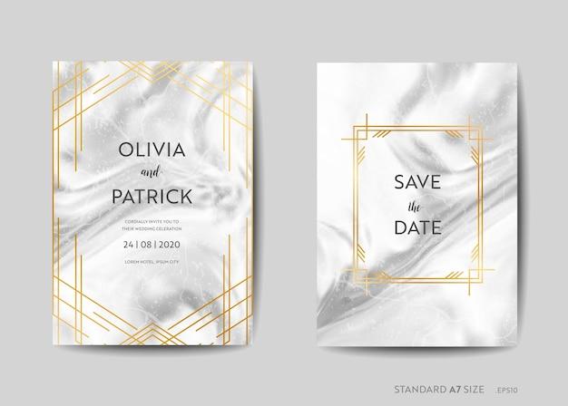 Hochzeitseinladungskarten, art-deco-stil save the date mit trendigem marmortexturhintergrund und goldener geometrischer rahmendesignillustration in vektor