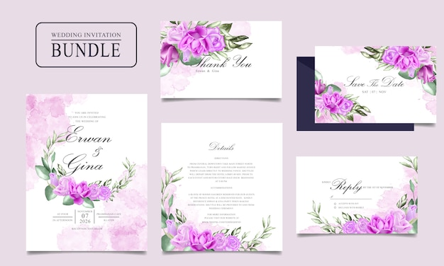 Hochzeitseinladungskarten-bündeldesign mit aquarellblumen- und -blattschablone