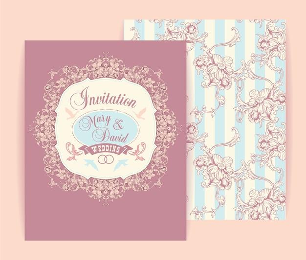 Hochzeitseinladungskarten mit blumenelementen. vektor-illustration.