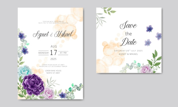 Hochzeitseinladungskarten mit elegantem und schönem blumen