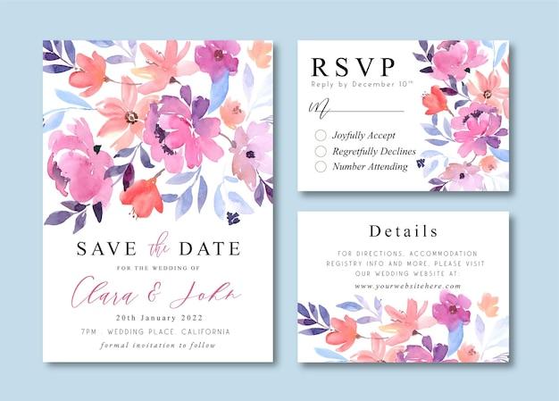 Hochzeitseinladungskarten mit lila pfingstrosen-aquarell-blumensträußen