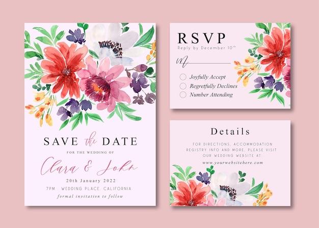 Hochzeitseinladungskarten mit pfingstrosen-aquarell-blumensträußen