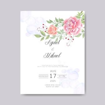 Hochzeitseinladungskarten mit retro- blumenschablonen
