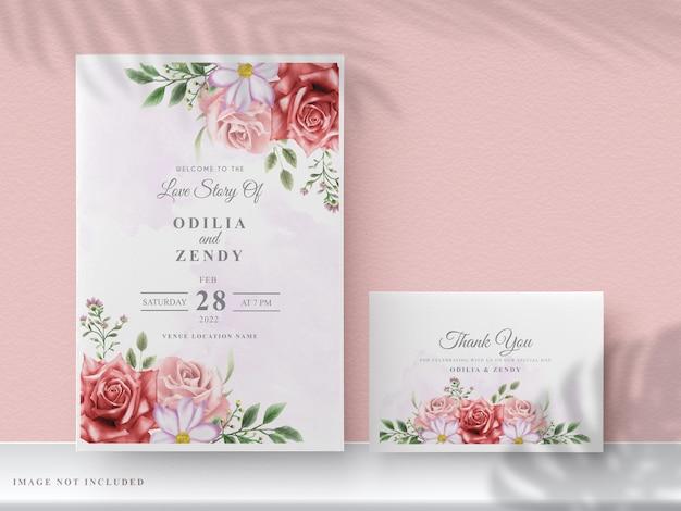 Hochzeitseinladungskarten mit schönen handgezeichneten roten blumen