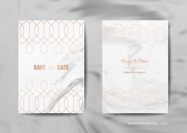 Hochzeitseinladungskarten-sammlung. speichern sie das datum, rsvp mit trendigem marmortexturhintergrund und goldener geometrischer art-deco-rahmendesignillustration in vektor