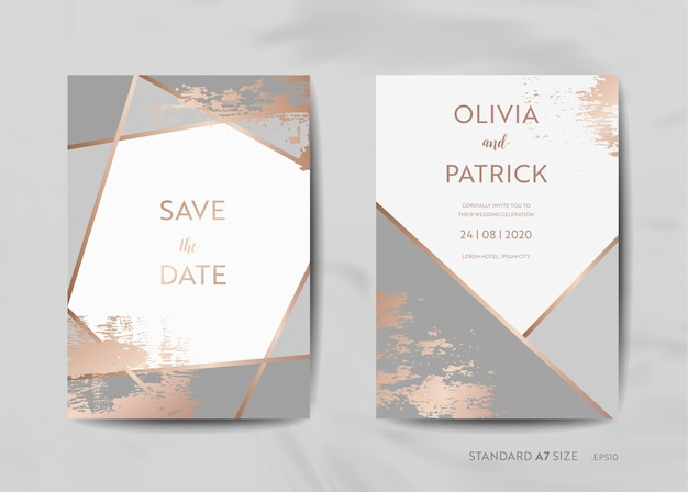 Hochzeitseinladungskarten-sammlung. speichern sie das datum, rsvp mit trendigem texturhintergrund und goldener geometrischer art-deco-rahmendesignillustration in vektor