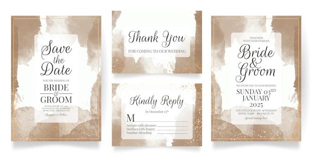 Hochzeitseinladungskarten-satzschablone mit aquarellhintergrund