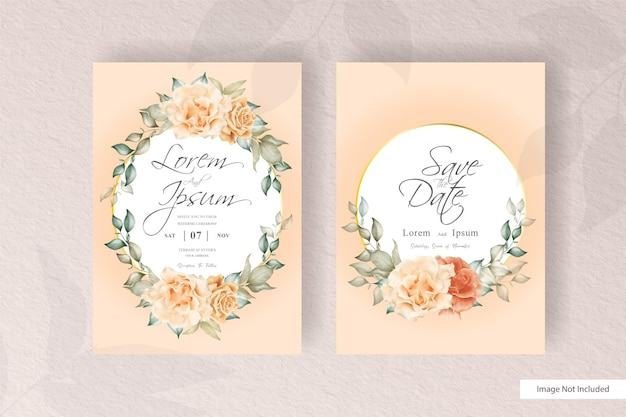 Hochzeitseinladungskarten-satzschablone mit blumen- und blattdekoration. trendy pflanzen kranz, vintage rustikale elemente, blumenrahmenkarten.