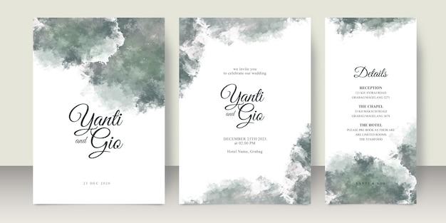 Hochzeitseinladungskarten-satzschablone mit spritzaquarell