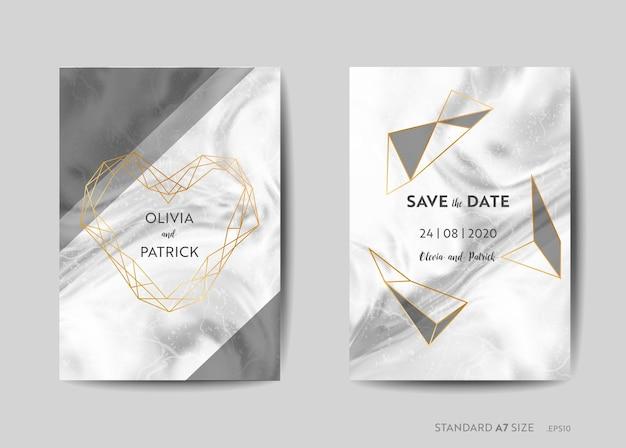 Hochzeitseinladungskarten, save the date mit trendigem marmortexturhintergrund und goldener geometrischer rahmendesignillustration in vektor