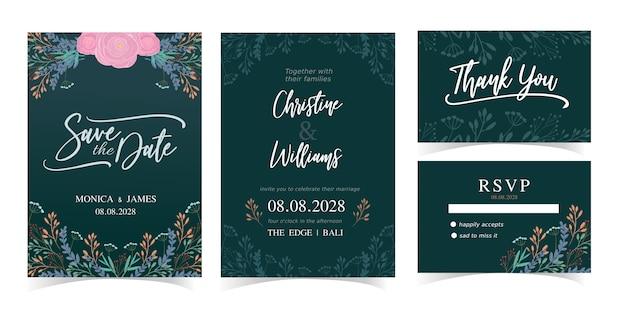 Hochzeitseinladungskarten-schablonensatz mit natürlichem vektordesign des grüns und der blume. rsvp brautkarten.