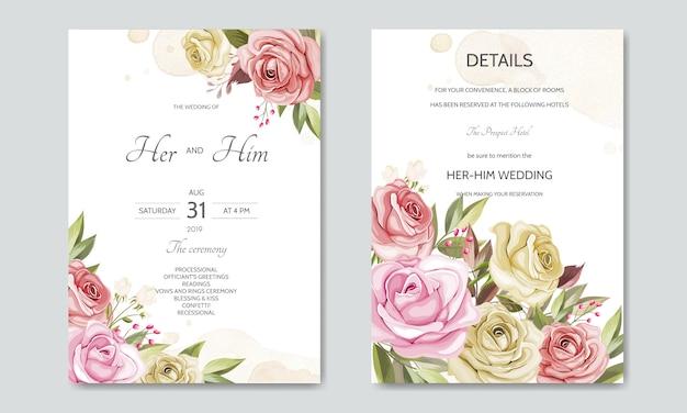 Hochzeitseinladungskarten-schablonensatz mit schönen blumenblättern